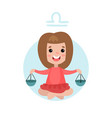 sweet little girl as libra astrological sign vector image