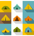 tent icons set flat style vector image vector image