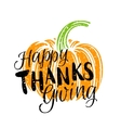 thanksgiving day pumpkin and lettering vector image