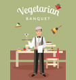 vegetarian banquet catering flat poster vector image vector image
