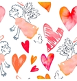 watercolor heart valentine day pattern vector image