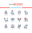 zodiac signs - line design style icons set vector image
