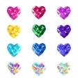 Crystal jewel isolated hearts vector image