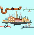 old factory with pipeline flat design vector image