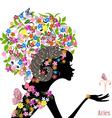 Zodiac sign aries fashion girl vector image