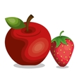 apple and strawberry icon vector image vector image
