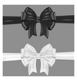 black and white ribbon bows wrapping on gray vector image vector image
