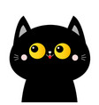 black cat face head silhouette with yellow eyes vector image vector image