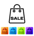black shoping bag with an inscription sale icon vector image