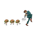 burgers go for a man with a pipe horn vector image vector image