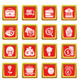 business icons set red square vector image