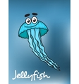 Cartooned blue jellyfish with flowing long vector image vector image