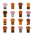 cat cute paws flat color set vector image vector image