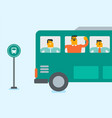 caucasian white man waving hand from bus window vector image vector image