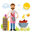 chef barbecue flat style colorful cartoon vector image vector image