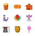 Circus chapiteau icons set cartoon style vector image vector image