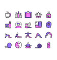 color linear icon set yoga and asana vector image