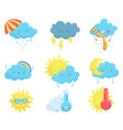 colorful weather forecast icons funny cartoon sun vector image