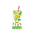 creative label with glass of fresh fruit beverage vector image vector image
