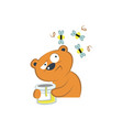 cute bear with honey and bees vector image vector image