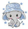 cute elephant in panama hat isolated on a white vector image vector image