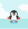 cute penguin swimming inflatable ring cartoon vector image vector image