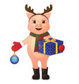 cute pig with deer horns gift and tree ball vector image vector image