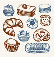 delicious sweets - color hand drawn vector image vector image