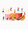 fast food and mini jumping people interacting vector image vector image