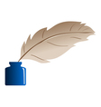 feather and ink bottle vector image