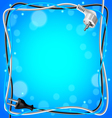 Frame from cables on blue background vector image vector image