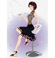 Girl in a black evening dress with a glass vector image