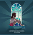 girl looking out through window in morning vector image vector image