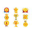 gold awards set various trophy and prize emblems vector image