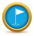 Gold golf flag icon vector image