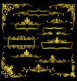 golden ornate frames borders and corner vector image vector image