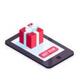 isometric gift on smartphone screen vector image