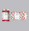 label packaging jar marmalade pattern strawberry vector image vector image