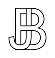 logo sign bj jb icon sign two interlaced letters b vector image vector image