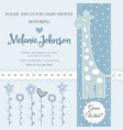 lovely baby shower card template with silver vector image vector image