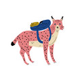 lynx travelling with backpack animal character vector image vector image
