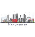 manchester skyline with gray buildings isolated vector image vector image