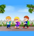 many children go away to school vector image