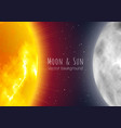 moon and sun night sky banner realistic style vector image