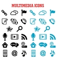 Multimedia and communication flat icons vector image vector image