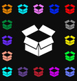 Open box icon sign Lots of colorful symbols for vector image vector image