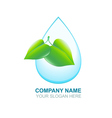 Organic logos Green leaf and blue water drop Eco vector image vector image