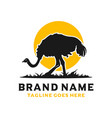 ostrich silhouette logo design template vector image vector image