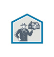 Real Estate Salesman Sell House Retro vector image vector image