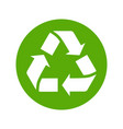 recycle icon flat style isolated on white vector image vector image